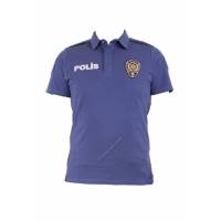 Polo Yaka Lacivert Polis T-shirt