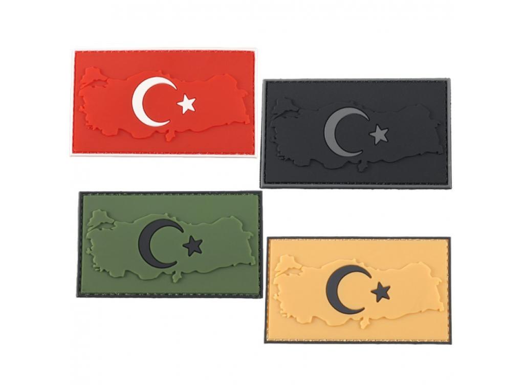 Plastik Patch Harita Türk Bayrağı 3D Arma